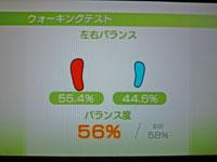 Wii Fit Plus 11月29日のバランス年齢 28歳 ウォーキングバランス結果 バランス度56%