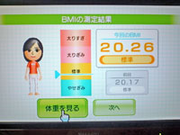 Wii Fit Plus 12月1日のBMI 20.26