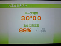Wii Fit Plus 12月1日のバランス年齢 20歳 片足立ちテスト結果 キープ時間30