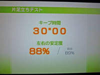 "Wii Fit Plus 12月3日のバランス年齢 20歳 片足立ちテスト結果 キープ時間30""00左右の安定度 88%"