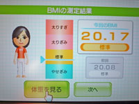 Wii Fit Plus 12月5日のBMI 20.17