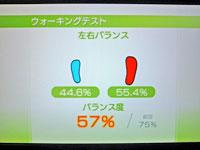 Wii Fit Plus 12月8日のバランス年齢 27歳 ウォーキングテスト結果 バランス度57%