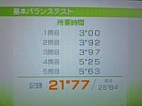 Wii Fit Plus 12月10日のバランス年齢 32歳 基本バランステスト結果 所要時間21