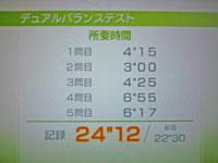 Wii Fit Plus 12月13日のバランス年齢 27歳 デュアルバランステスト結果 所要時間24