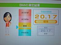Wii Fit Plus 12月14日のBMI 20.17