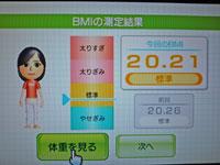 Wii Fit Plus 12月16日のBMI 20.21