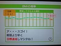 Wii Fit Plus BMIの推移のグラフ 目標達成