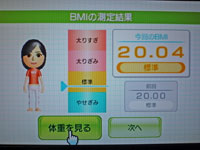 Wii Fit Plus 12月26日のBMI 20.04