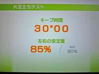 Wii Fit Plus 12月28日のバランス年齢 25歳 片足立ちテスト結果 キープ時間30