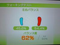 Wii Fit Plus 12月29日のバランス年齢 26歳 ウォーキングテスト結果 バランス度63%