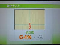 Wii Fit Plus 12月31日のバランス年齢 32歳 静止テスト結果 安定度64%