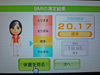 Wii Fit Plus 1月1日のBMI 20.17