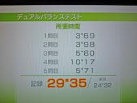 Wii Fit Plus 1月4日のバランス年齢 33歳 デュアルバランステスト結果 所要時間29