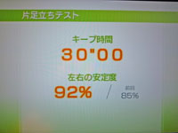 Wii Fit Plus 1月8日のバランス年齢 22歳 片足立ちテスト結果 キープ時間30
