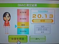 Wii Fit Plus 1月11日のBMI 20.13