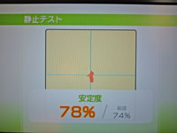 Wii Fit Plus 1月11日のバランス年齢 29歳 静止テスト結果 安定度78%