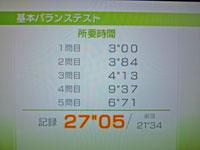 Wii Fit Plus 1月12日のバランス年齢 22歳 基本バランステスト結果 所要時間27