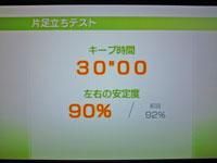 Wii Fit Plus 1月13日のバランス年齢 22歳 片足立ちテスト結果 キープ時間30