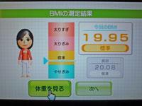 Wii Fit Plus 1月14日のBMI 19.95