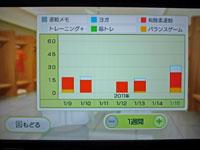 Wii Fit Plus 1月15日のトレーニングの種類と運動時間