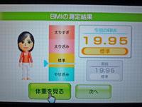 Wii Fit Plus 1月16日のBMI 19.95