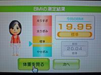 Wii Fit Plus 1月18日のBMI 19.95