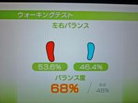 Wii Fit Plus 1月18日のバランス年齢 26歳 ウォーキングテスト結果 バランス度68%