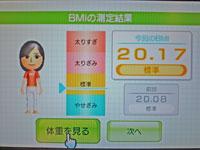 Wii Fit Plus 2011年1月23日のBMI 20.17