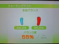 Wii Fit Plus 2011年1月23日のバランス年齢 35歳 ウォーキングテスト結果 バランス度55%