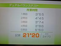 Wii Fit Plus 2011年1月25日のバランス年齢 27歳 デュアルバランステスト結果 所要時間21
