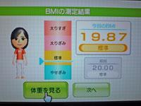 Wii Fit Plus 2011年1月28日のBMI 19.87