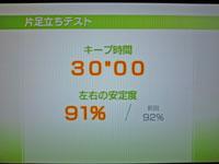 Wii Fit Plus 2011年1月28日のバランス年齢 20歳 片足立ちテスト結果 キープ時間30