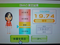 Wii Fit Plus 2011年1月29日のBMI 19.74