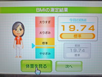 Wii Fit Plus 2011年2月2日のBMI 19.74