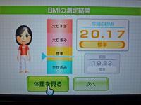 Wii Fit Plus 2011年2月4日のBMI 20.17