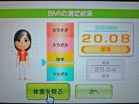 Wii Fit Plus 2011年2月6日のBMI 20.08