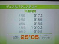 Wii Fit Plus 2011年2月6日のバランス年齢 27歳 デュアルバランステスト結果 所要時間25