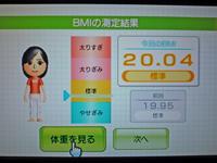 Wii Fit Plus 2011年2月10日のBMI 20.04