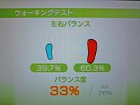 Wii Fit Plus 2011年2月12日のバランス年齢 41歳 ウォーキングテスト結果 バランス度33%