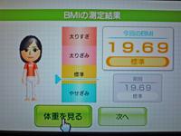 Wii Fit Plus 2011年2月14日のBMI 19.69