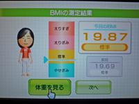 Wii Fit Plus 2011年2月15日のBMI 19.87