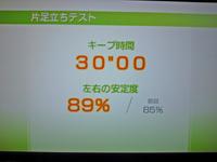 Wii Fit Plus 2011年2月15日のバランス年齢 22歳 片足立ちテスト結果 キープ時間30