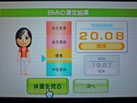 Wii Fit Plus 2011年2月16日のBMI 20.08