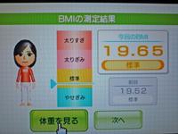 Wii Fit Plus 2011年2月24日のBMI 19.65
