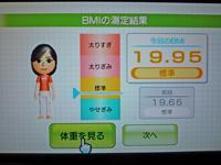 Wii Fit Plus 2011年2月25日のBMI 19.95