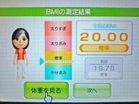 Wii Fit Plus 2011年2月27日のBMI 20.00