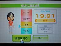 Wii Fit Plus 2011年2月28日のBMI 19.91