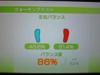Wii Fit Plus 2011年3月2日のバランス年齢 20歳 ウォーキングテスト結果バランス度86%