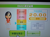 Wii Fit Plus 2011年3月9日のBMI 20.00