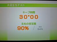 Wii Fit Plus 2011年3月9日のバランス年齢 20歳 片足立ちテスト結果 キープ時間30